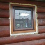Пластиковое окно одностворчатое ламинированное снаружи, цвет - Полосатый дуглас, в деревянном срубе бани в Бобруйске, Глуске, Осиповичах